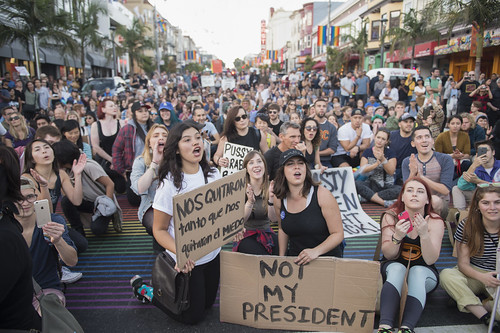 Anti-Trump protesters gathered at 18th St. and Castro St. for a short rally, San Francisco, California, USA., November 13, 2016