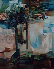 Alberi all'orizzonte, tecnica mista su tela, 30×50 2007