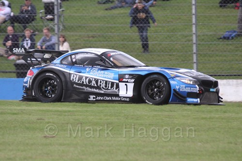The Ecurie Ecosse BMW Z4 GT3 of Marco Attard and Alexander Sims in British GT Racing at Donington, September 2015