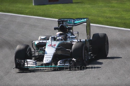 Lewis Hamilton in Free Practice 1 for the 2015 Belgium Grand Prix