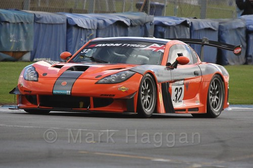 The Team LNT Ginetta G55 GT3 of Mike Simpson and Steve Tandy in British GT Racing at Donington, September 2015