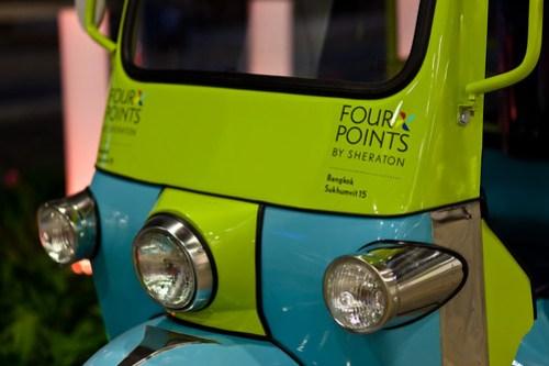Hotel shuttle bus, close-up