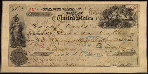 Treasury Warrant in the Amount of $7.2 Million for the Purchase of Alaska, 08/01/1868, Page 1 of 2