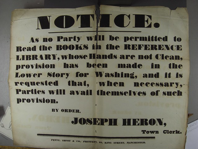 'no Party will be permitted to Read the BOOKS in the REFERENCE LIBRARY whose Hands are not Clean' public notice, c.1890s (GB127.M740/2/13/1/4)
