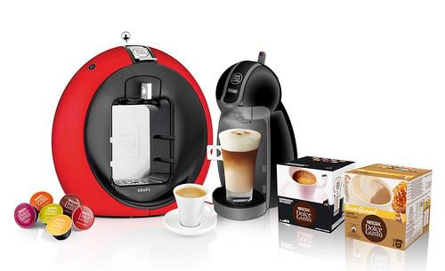 Nescafé Dolce Gusto machine, coffee and capsules