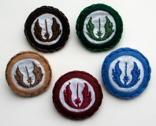 jedi symbol - hand embroidered pins/badges
