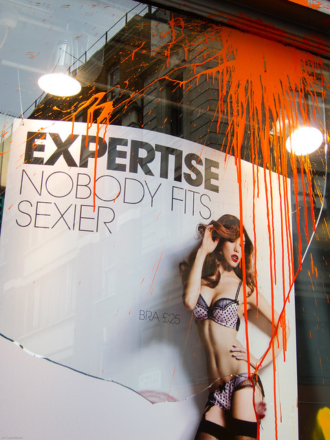 Ann Summers Window smashed by Black Bloc protesters #UkUncut