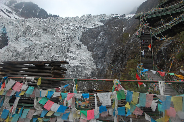 Walking down the stairs with the glacier in the background