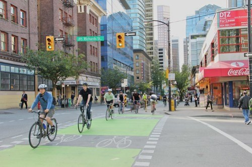 Vancouver's Dunsmuir separated cycle track, courtesy of Paul Krueger.