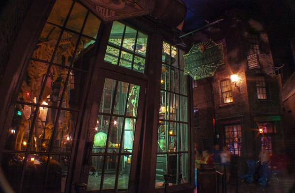 Diagon Alley at night in Universal Orlando