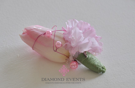 Tulip and Cherry Blossom Boutonniere