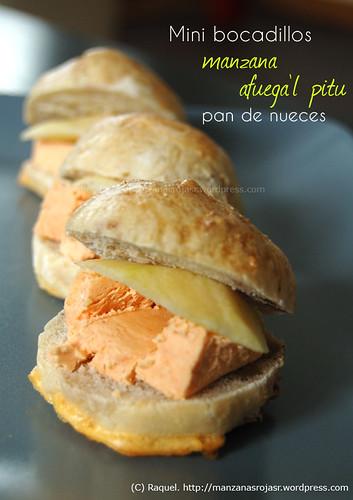 Mini bocadillos de manzana, afuega'l pitu y pan de nueces