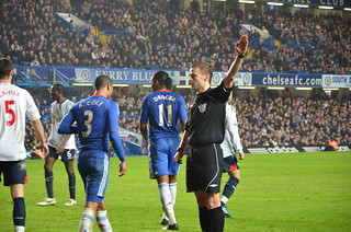 Referee awards a corner to Chelsea off Cahill