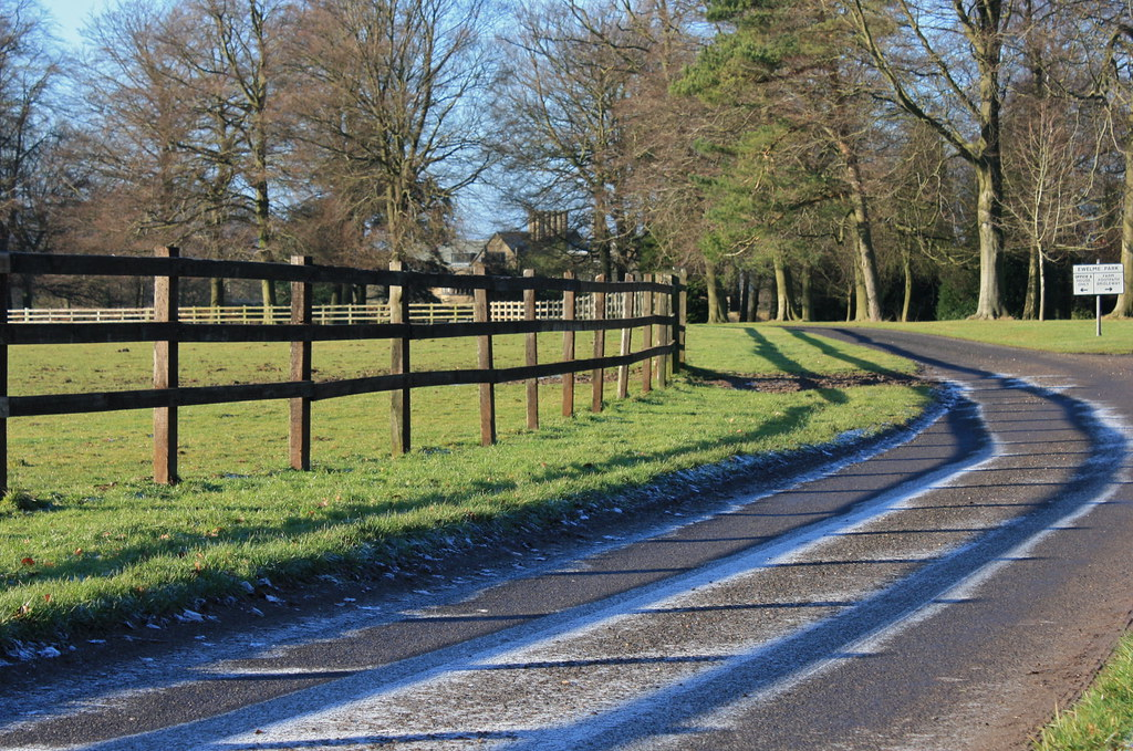 Unthawed frost in fence shadows