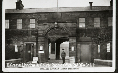 Manchester Regiment Barracks, Ashton under Lyne, c.1910. (ref: GB124.DPA/641/11).