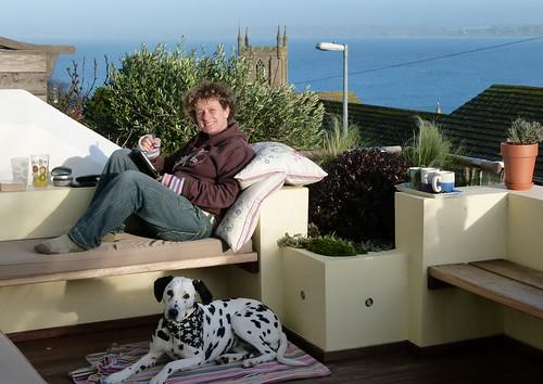 Liz Kessler and Poppy working in the garden