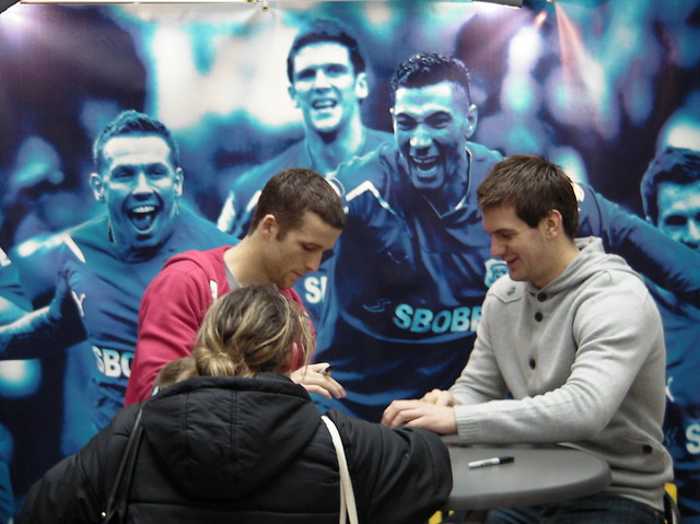 Cardiff City players meet the fans