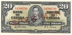 1937 Series $20 – front / Billet de 20 $ de la série 1937 – recto
