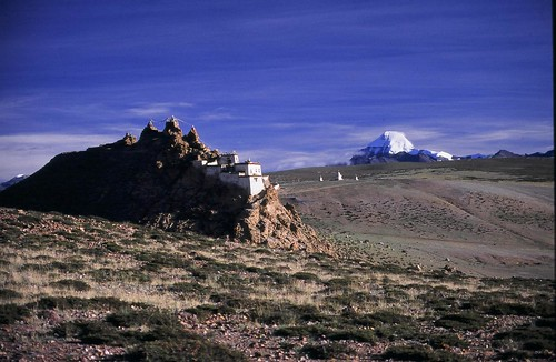 Chu Gompa on the banks of the Mansarovar Lake with Mt Kailash in the background