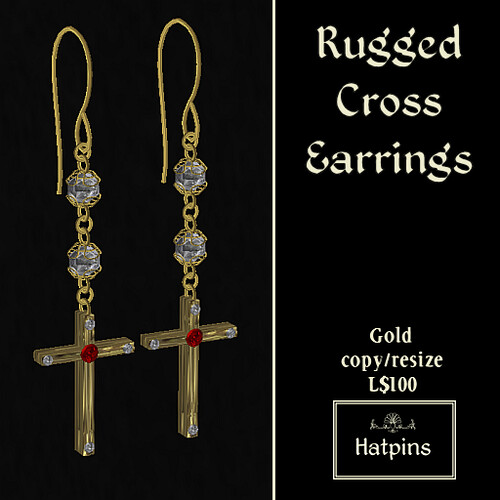 Hatpins - Rugged Cross Earrings - Gold