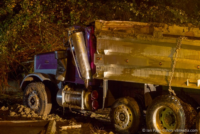 Peterbilt truck flipped back on it's wheels