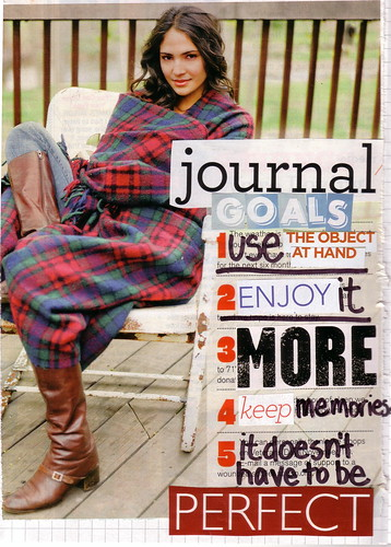 "collage of girl in plaid wrap sitting on bench with ""journal goals: 1) use the object at hand, 2) enjoy it, 3) more"