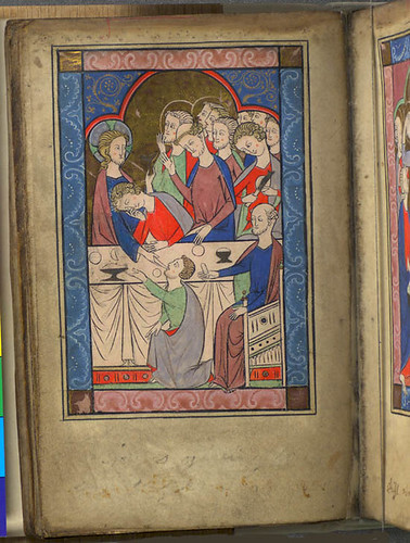 Full-page miniature of the Last Supper. Murthly Hours. National Library of Scotland.