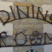 Mount Bryan Hotel sign. Dining Room sign made of old tools spanners drills awls etc and horse shoes.