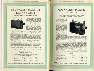 Cine-Kodak Model BB and K movie cameras 1932