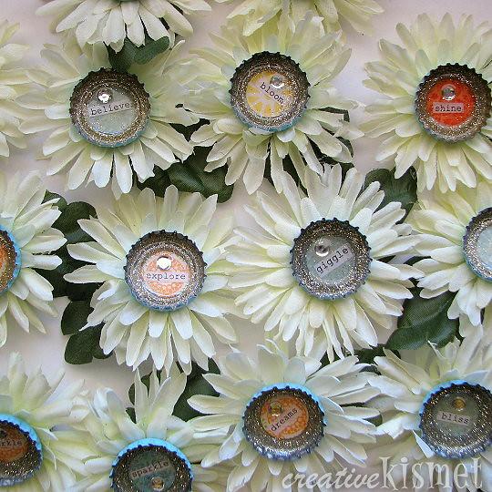 bottlecap flower brooches