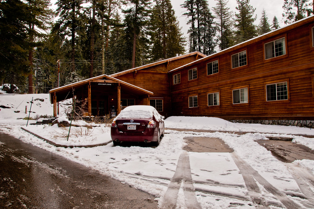 Our car at the John Muir Lodge, Kings Canyon National Park