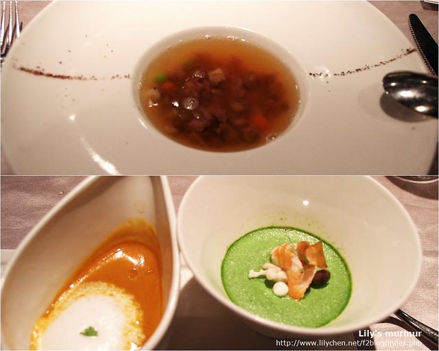 上面是我的法式牛尾清湯,我不是很喜歡這道湯品,尼的松露海鮮濃湯好喝多了。