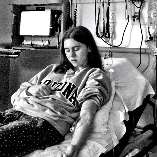 In the ER after a mysterious allergic reaction that made her lips twice their normal size.