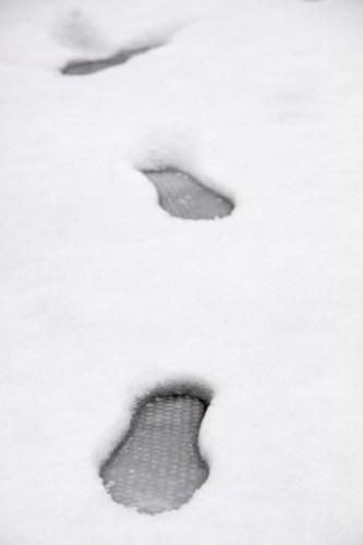 Footprints in Colliers Wood snow