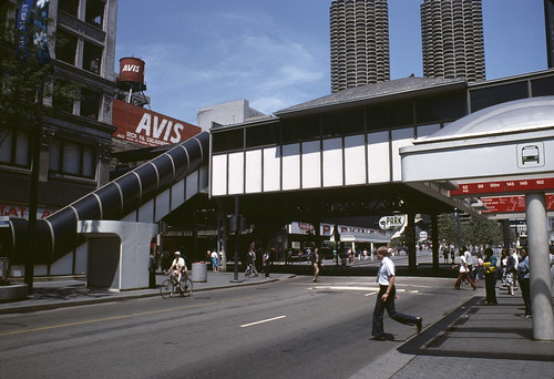 View of an Elevated Station over State Street at the Intersection with Lake Street