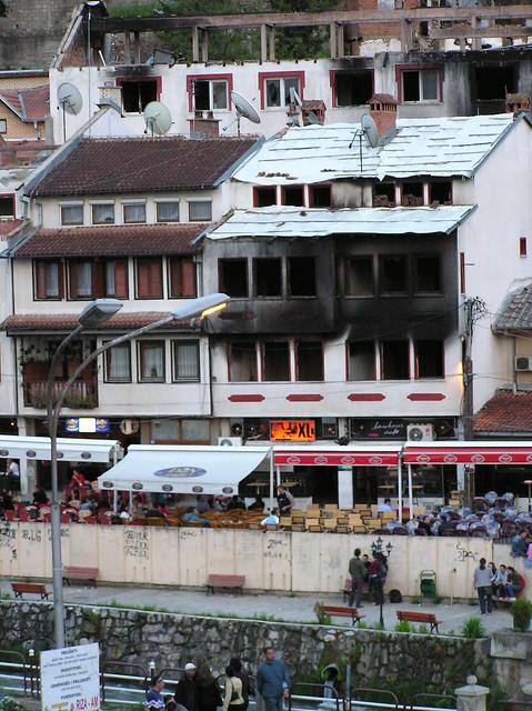 March 17, 2004 damage to Serbian village. Prizren, Kosovo