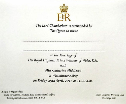 Dare I Say That This Invitation Seems More Modern Than What You Would  Expect For A Royal Wedding? [Via Flickr User Markhillary]