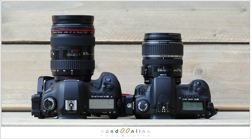 Ook zoom objectieven zijn er in verschillende varianten. Op deze foto een 24-70mm op een fullframe camera (links) en een 15-85mm op een 1,6crop camera.