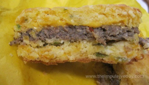 Whataburger Jalapeno Cheddar Biscuit Sausage Cheese Sandwich Inside