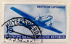 beautiful stamp DDR GDR 15 pf. Briefmarke timbre GDR DDR Deutsche Lufthansa Airplane selo postage Deutsche Demokratische Republik Ost-Deutschland German Democratic Republic