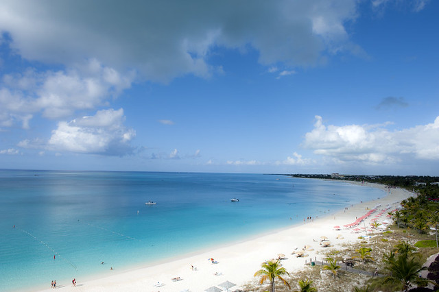 Turquoise sea and white beach, Grace Bay, Providenciales,Turks and Caicos Islands