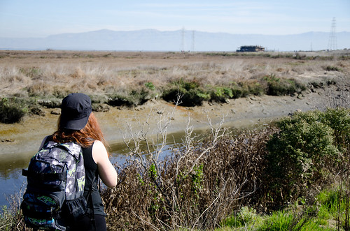Woman pausing to look at landscape
