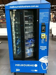 Bike helmet vending machine for Melbourne bike share.