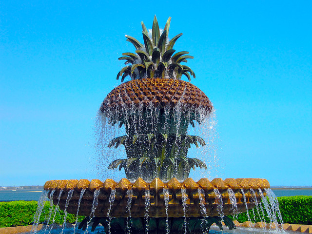 pineapple fountain, charleston SC, things to do in Charleston