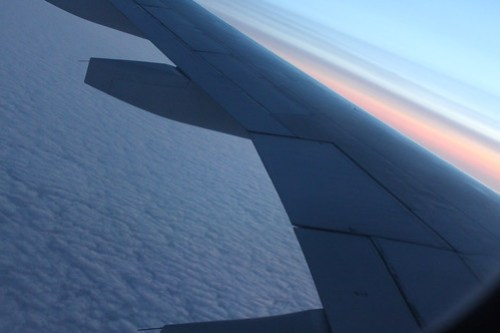 Over the Atlantic, catching the sunrise