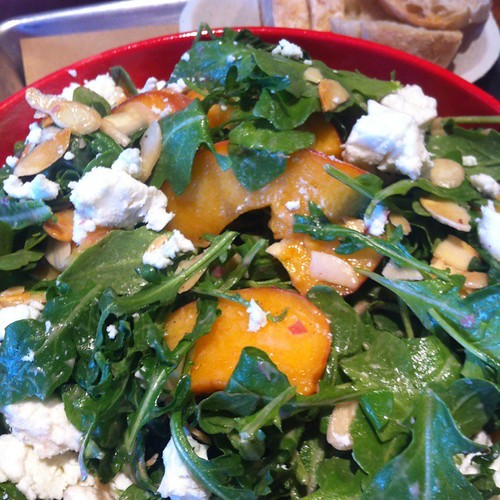 Wild Rocket Arugula, White Peach, Cypress Grove Goat Cheese, Toasted Almonds @ Bair Island Tap & Eatery