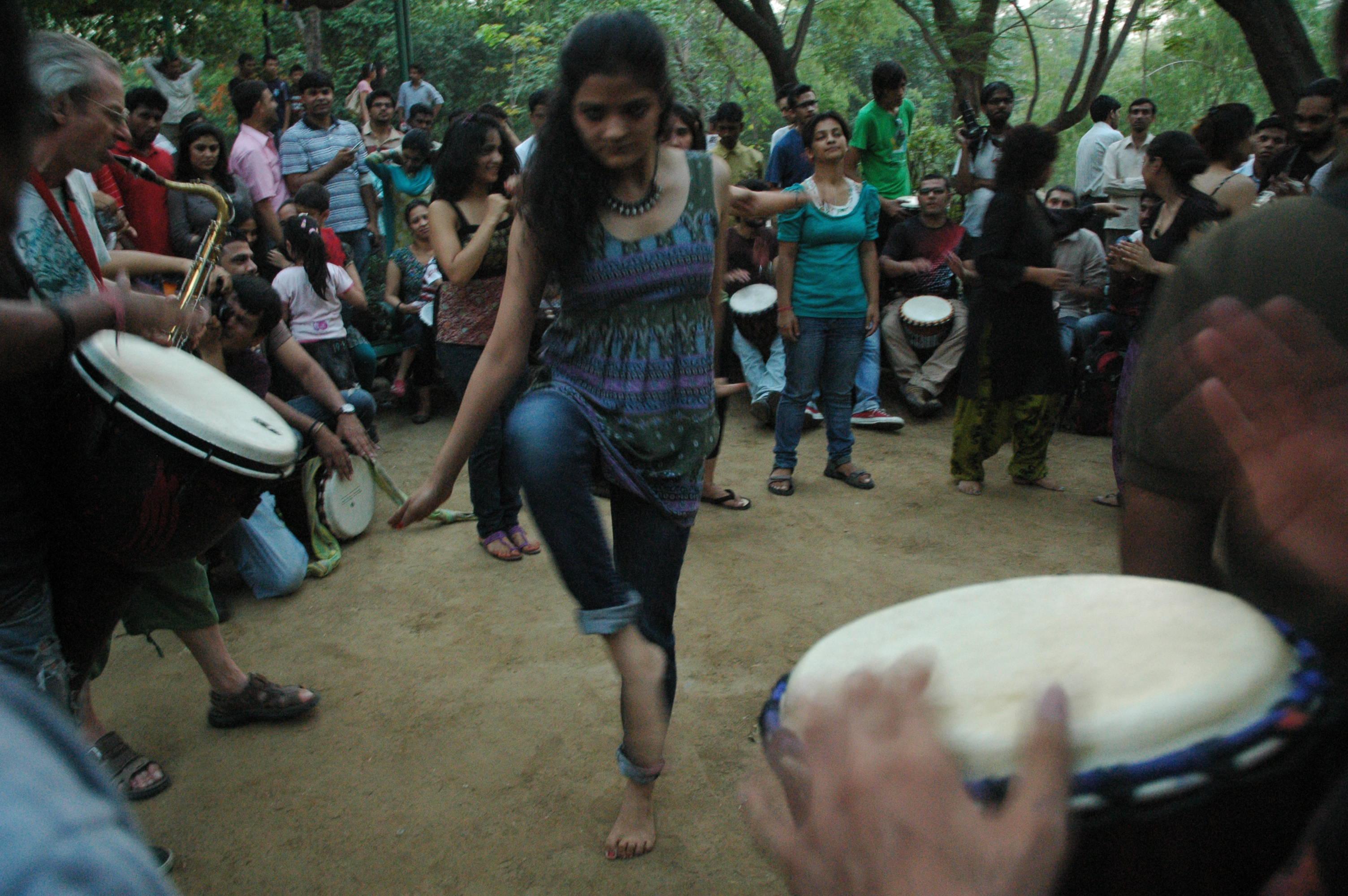 Free dancing, very informal, Drum Circle, Delhi
