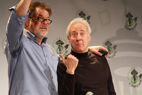 Jonathan Frakes and Brent Spiner hamming it up for the camera
