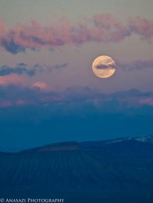 Snow Moon Over Mount Garfield