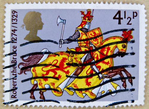 stamp England 4.5p 4 1/2p GB Great Britain postage Марки knight horse Robert the Bruce image pic King of Scotland timbre armorial bearings hatchments selo francobollo special issue stamp, commemorative issue émission commémorative selo de correio sello by stampolina